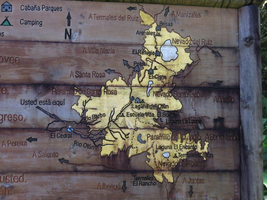Mapa Parque Nacional de los Nevados