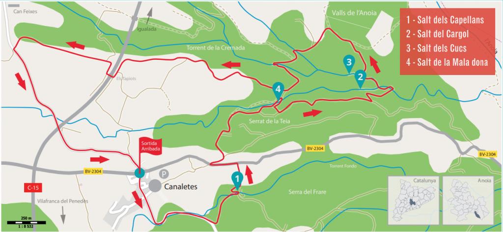 mapa salts d'aigua de Cabrera d'Anoia